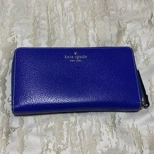 Kate Spade Cobalt Blue Zip-Around Wallet
